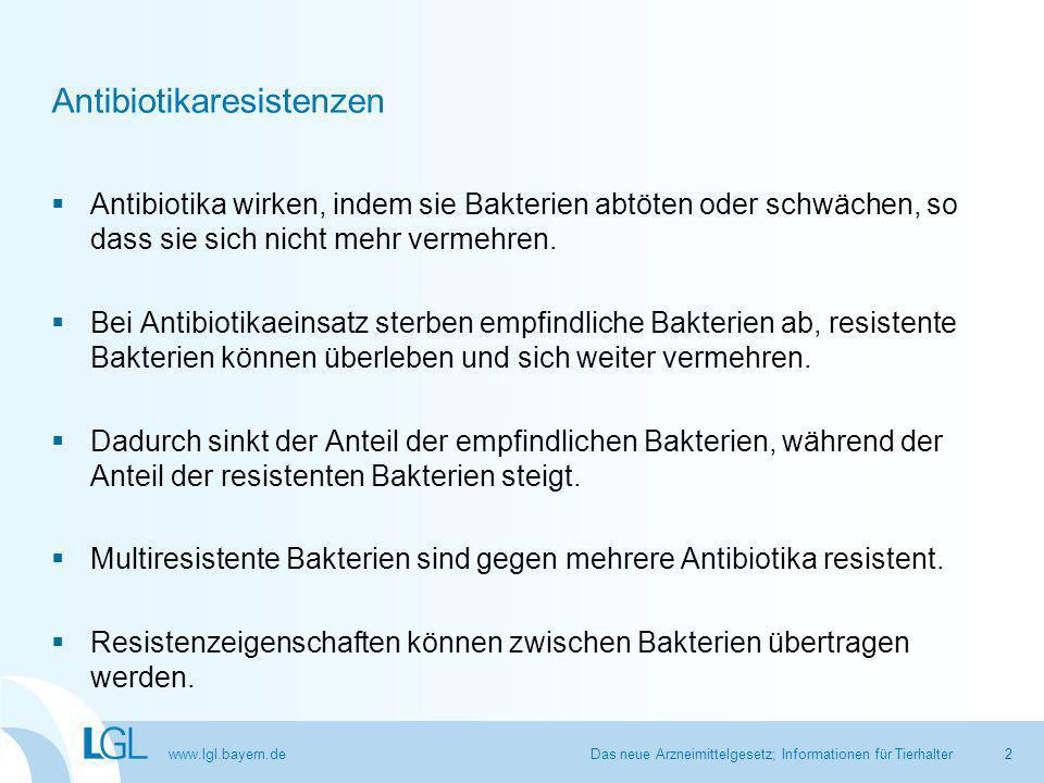 www.lgl.bayern.de Antibiotikaeinsatz bei Masttieren  Jeder Einsatz von Antibiotika trägt dazu bei, dass sich resistente Bakterien vermehren.