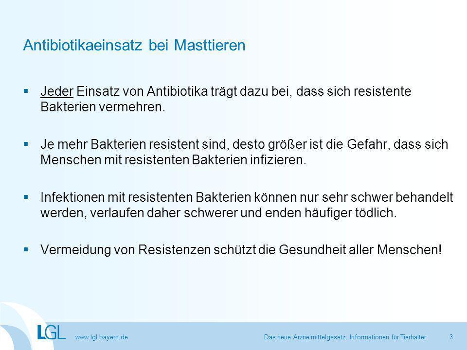 www.lgl.bayern.de § 58d: Antibiotikaminimierung Mögliche Maßnahmen der Behörde Beispiele für Anordnungen durch zuständige Behörde  Maßnahmenplan ändern oder ergänzen  Beachtung von Antibiotikaleitlinien  Impfung von Tieren  Optimierung der Tierhaltung (z.B.