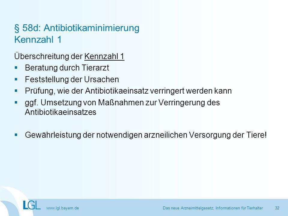 www.lgl.bayern.de § 58d: Antibiotikaminimierung Kennzahl 1 Überschreitung der Kennzahl 1  Beratung durch Tierarzt  Feststellung der Ursachen  Prüfung, wie der Antibiotikaeinsatz verringert werden kann  ggf.