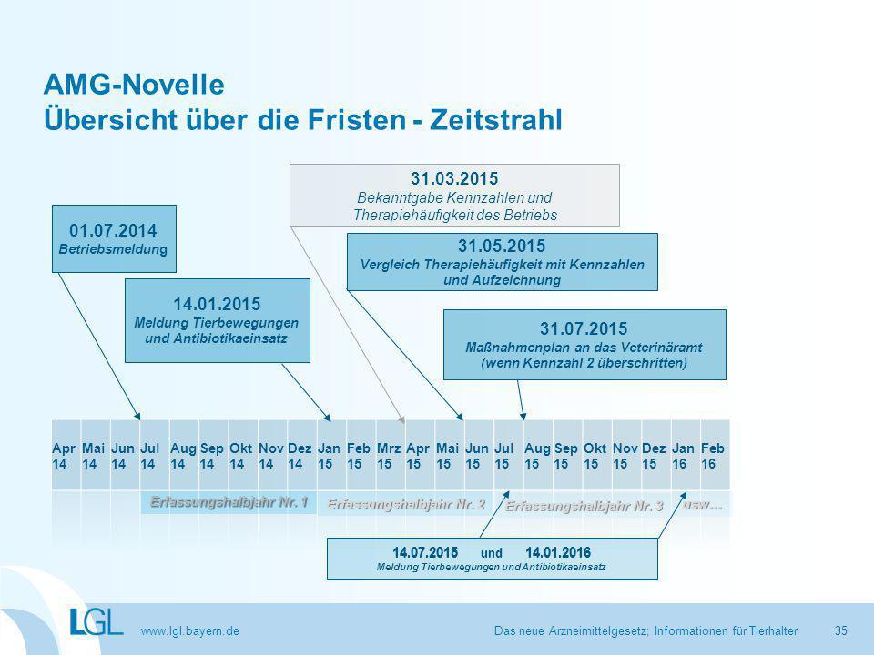 www.lgl.bayern.de AMG-Novelle Übersicht über die Fristen - Zeitstrahl Das neue Arzneimittelgesetz; Informationen für Tierhalter Erfassungshalbjahr Nr.