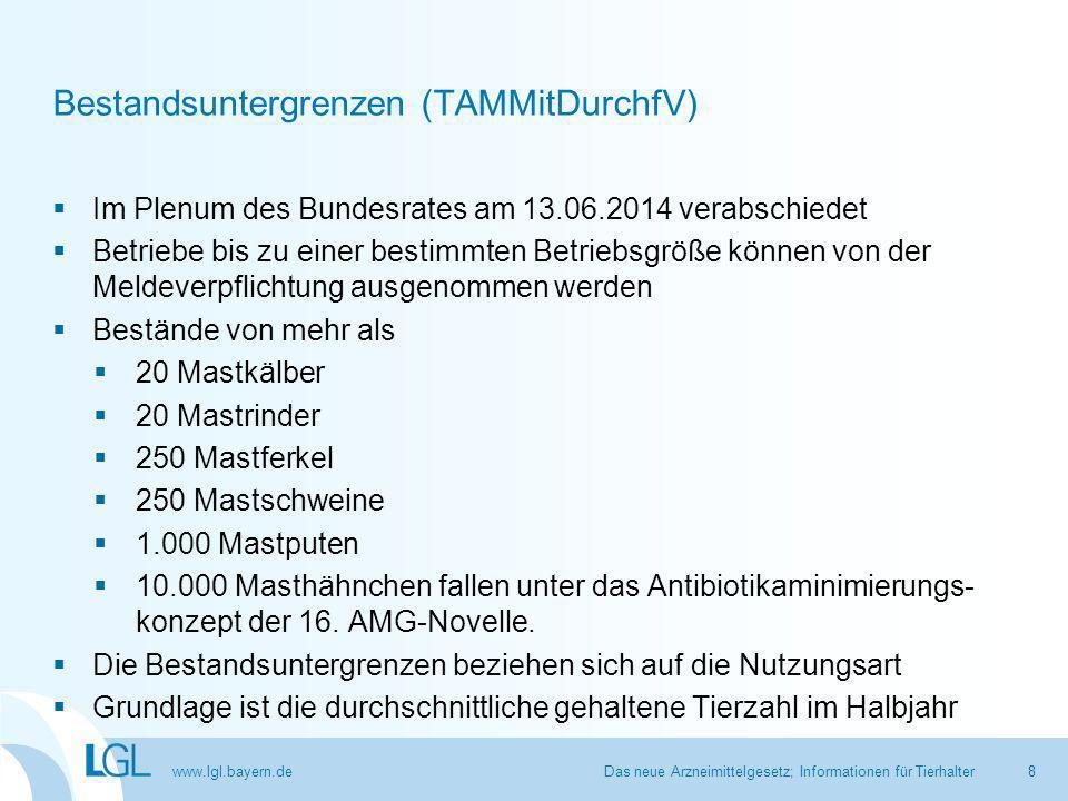 www.lgl.bayern.de Durchschnittliche Tierzahl im Halbjahr Rechnungsbeispiel mit Leerstandszeit Das neue Arzneimittelgesetz; Informationen für Tierhalter9