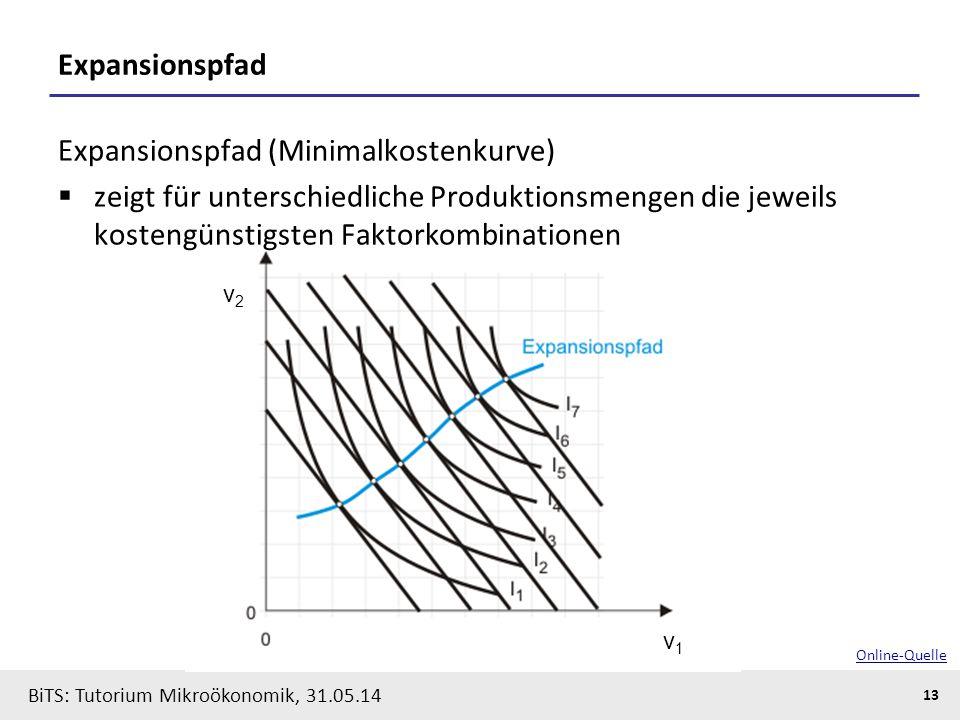 13 BiTS: Tutorium Mikroökonomik, 31.05.14 Expansionspfad Expansionspfad (Minimalkostenkurve)  zeigt für unterschiedliche Produktionsmengen die jeweil