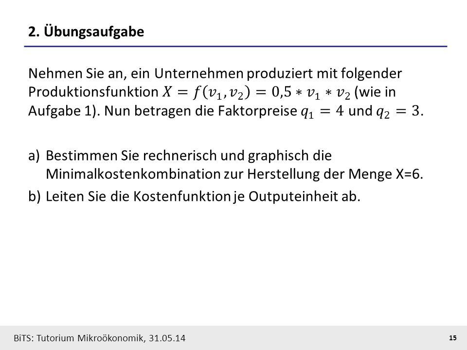 15 BiTS: Tutorium Mikroökonomik, 31.05.14 2. Übungsaufgabe