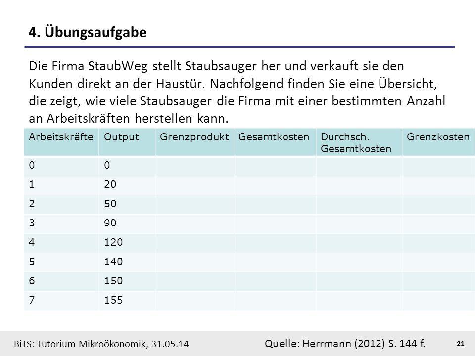 21 BiTS: Tutorium Mikroökonomik, 31.05.14 4. Übungsaufgabe Die Firma StaubWeg stellt Staubsauger her und verkauft sie den Kunden direkt an der Haustür