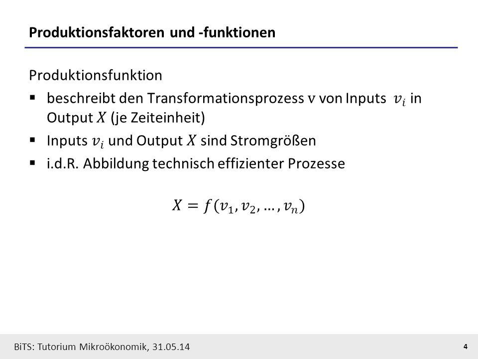4 BiTS: Tutorium Mikroökonomik, 31.05.14 Produktionsfaktoren und -funktionen