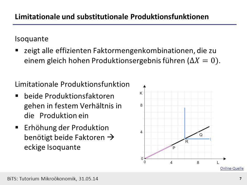 7 BiTS: Tutorium Mikroökonomik, 31.05.14 Limitationale und substitutionale Produktionsfunktionen Online-Quelle