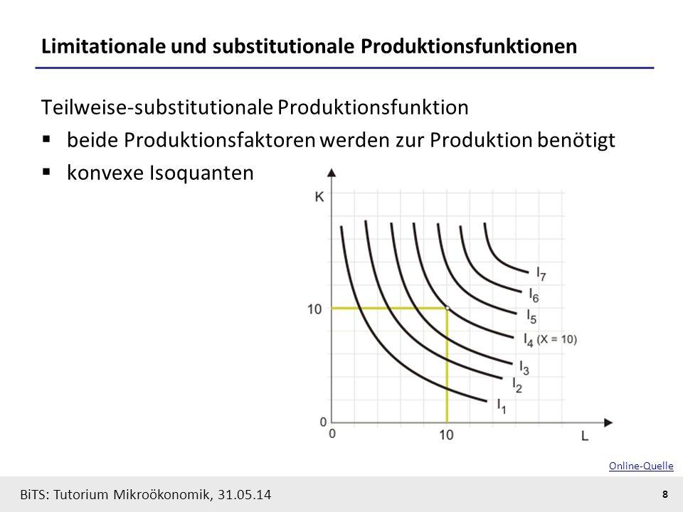8 BiTS: Tutorium Mikroökonomik, 31.05.14 Limitationale und substitutionale Produktionsfunktionen Teilweise-substitutionale Produktionsfunktion  beide