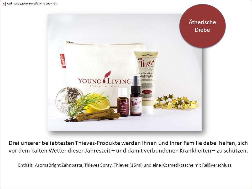 Enthält: AromaBright Zahnpasta, Thieves Spray, Thieves (15ml) und eine Kosmetiktasche mit Reißverschluss.