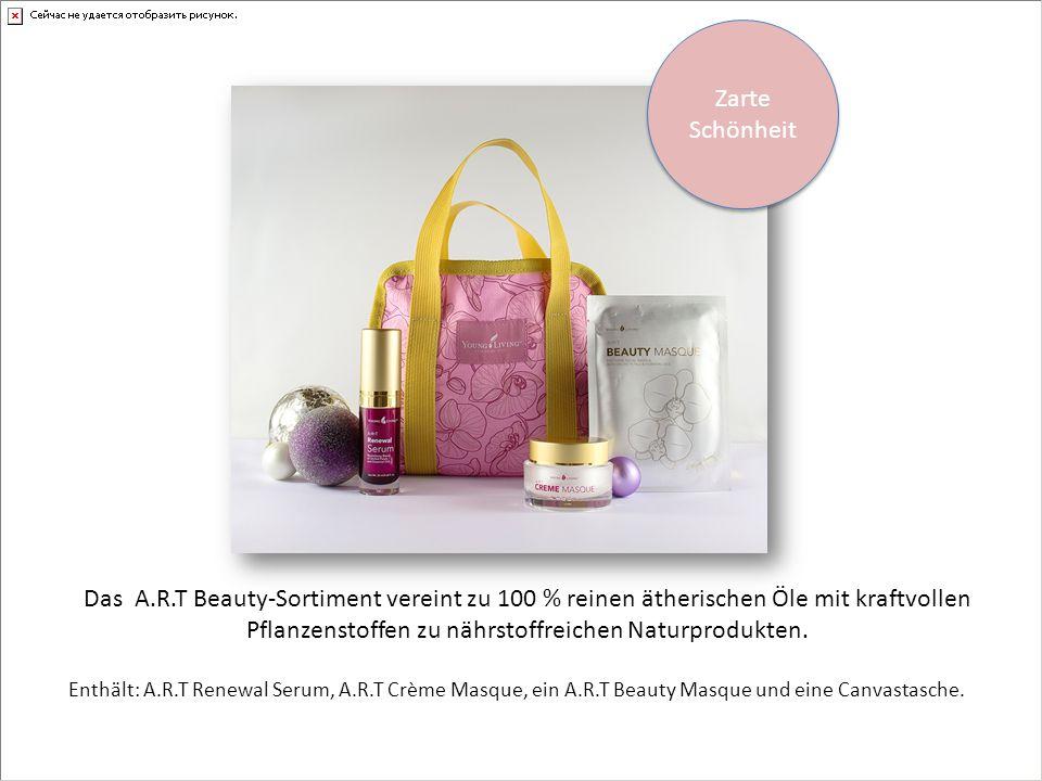 Enthält: A.R.T Renewal Serum, A.R.T Crème Masque, ein A.R.T Beauty Masque und eine Canvastasche.