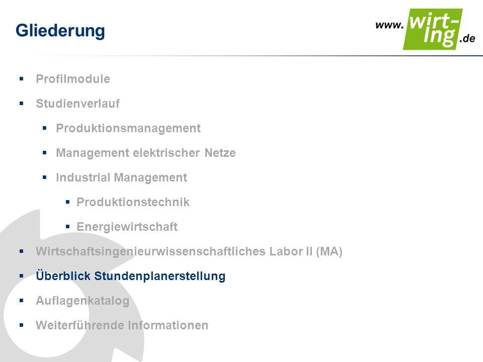Gliederung  Profilmodule  Studienverlauf  Produktionsmanagement  Management elektrischer Netze  Industrial Management  Produktionstechnik  Ener