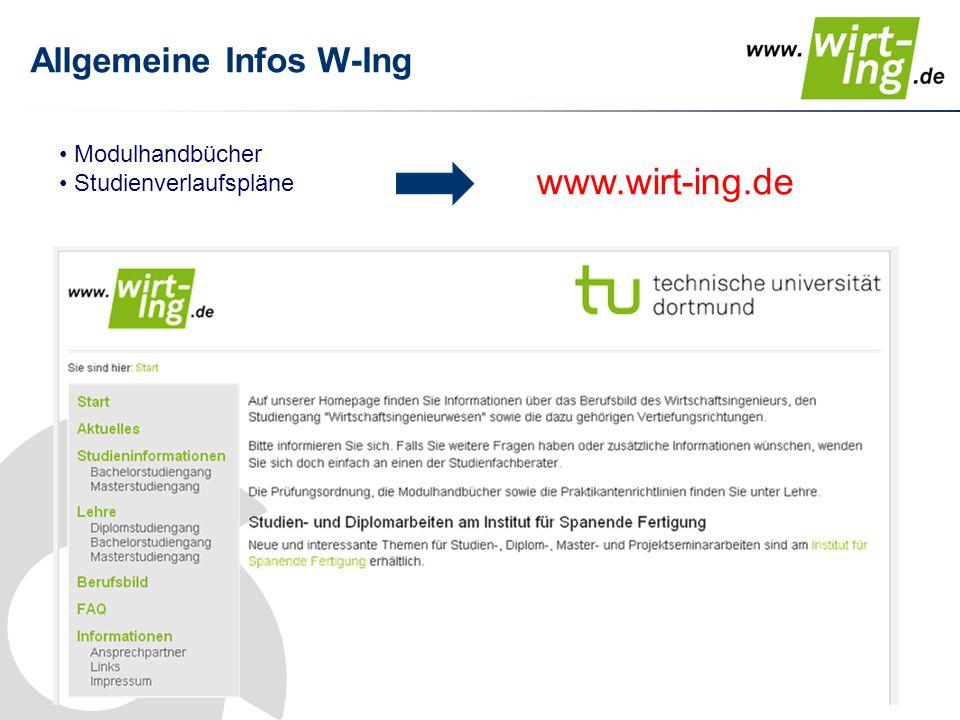 Allgemeine Infos W-Ing Modulhandbücher Studienverlaufspläne www.wirt-ing.de