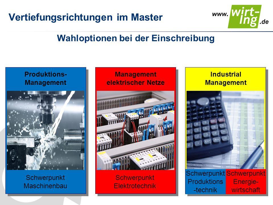 Vertiefungsrichtungen im Master Wahloptionen bei der Einschreibung Produktions- Management Management elektrischer Netze Industrial Management Schwerp