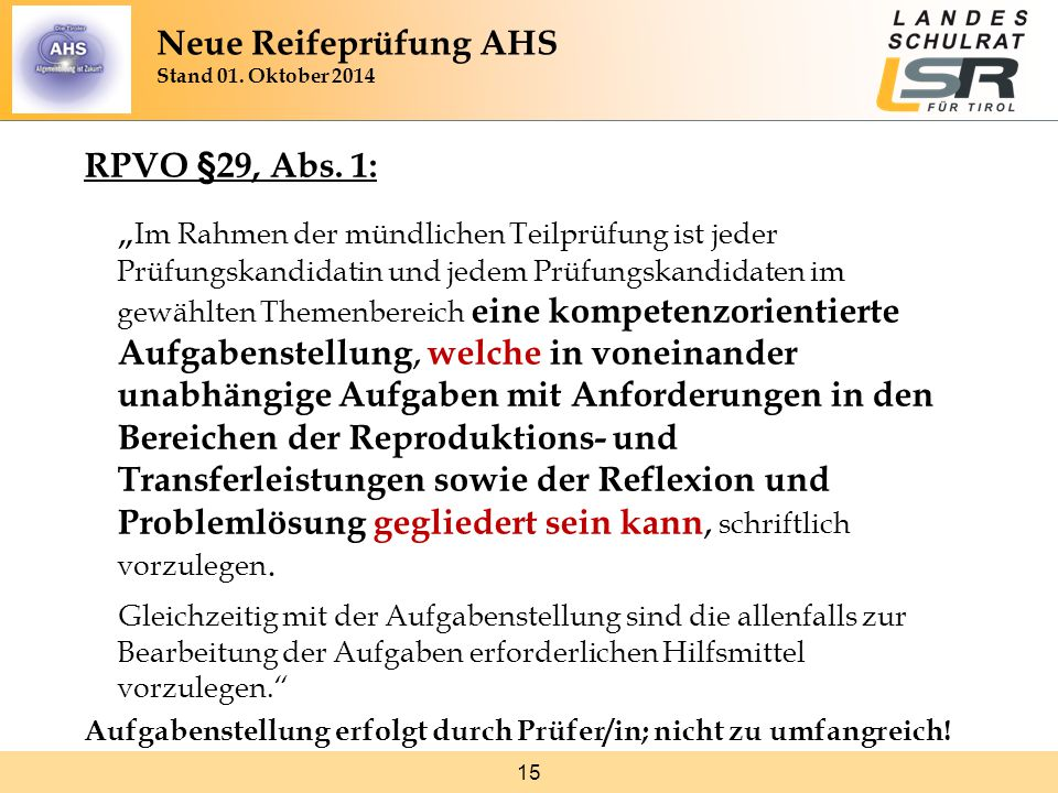 15 RPVO §29, Abs.