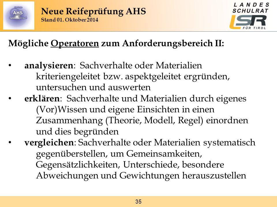35 Mögliche Operatoren zum Anforderungsbereich II: analysieren : Sachverhalte oder Materialien kriteriengeleitet bzw.