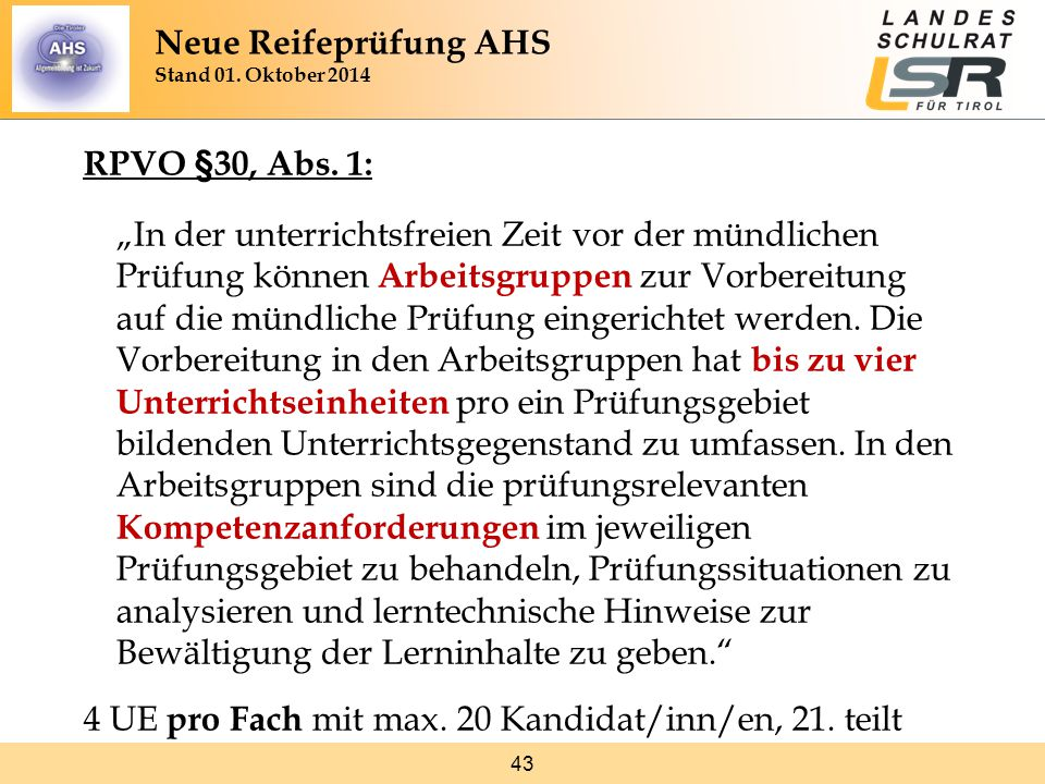 43 RPVO §30, Abs.