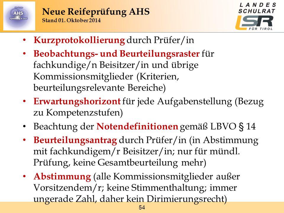 54 Kurzprotokollierung durch Prüfer/in Beobachtungs- und Beurteilungsraster für fachkundige/n Beisitzer/in und übrige Kommissionsmitglieder (Kriterien, beurteilungsrelevante Bereiche) Erwartungshorizont für jede Aufgabenstellung (Bezug zu Kompetenzstufen) Beachtung der Notendefinitionen gemäß LBVO § 14 Beurteilungsantrag durch Prüfer/in (in Abstimmung mit fachkundigem/r Beisitzer/in; nur für mündl.