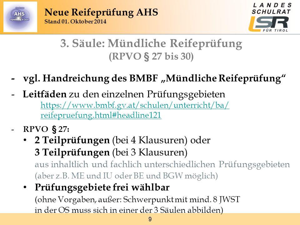 9 3.Säule: Mündliche Reifeprüfung (RPVO § 27 bis 30) -vgl.