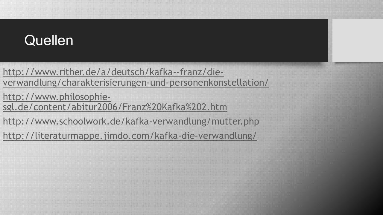 Quellen http://www.rither.de/a/deutsch/kafka--franz/die- verwandlung/charakterisierungen-und-personenkonstellation/ http://www.philosophie- sgl.de/con