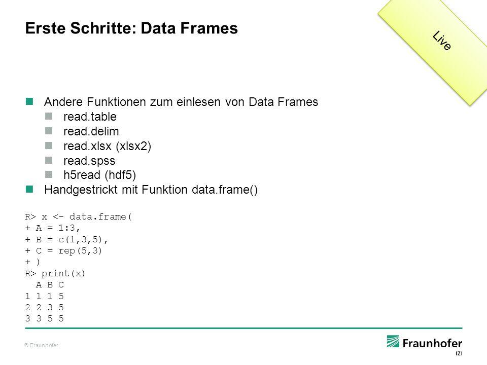 © Fraunhofer Erste Schritte: Data Frames Andere Funktionen zum einlesen von Data Frames read.table read.delim read.xlsx (xlsx2) read.spss h5read (hdf5