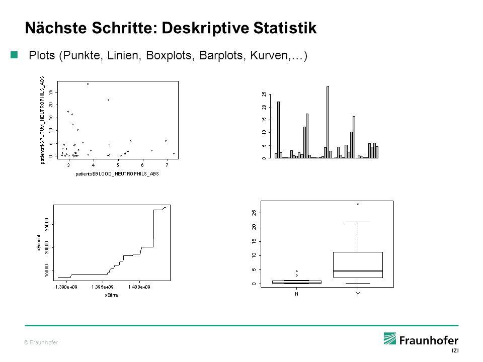 © Fraunhofer Nächste Schritte: Induktive Statistik Einfache univariate Tests (student's t test, chi²-test, etc.) Modelle mehrere Variablen (ANOVA, lineare Modelle, generalisierte lineare Modelle) Nicht-parametrische Statistik (GAM, Wilcoxon, Mann–Whitney U) Multivariate Statistik (MANOVA)
