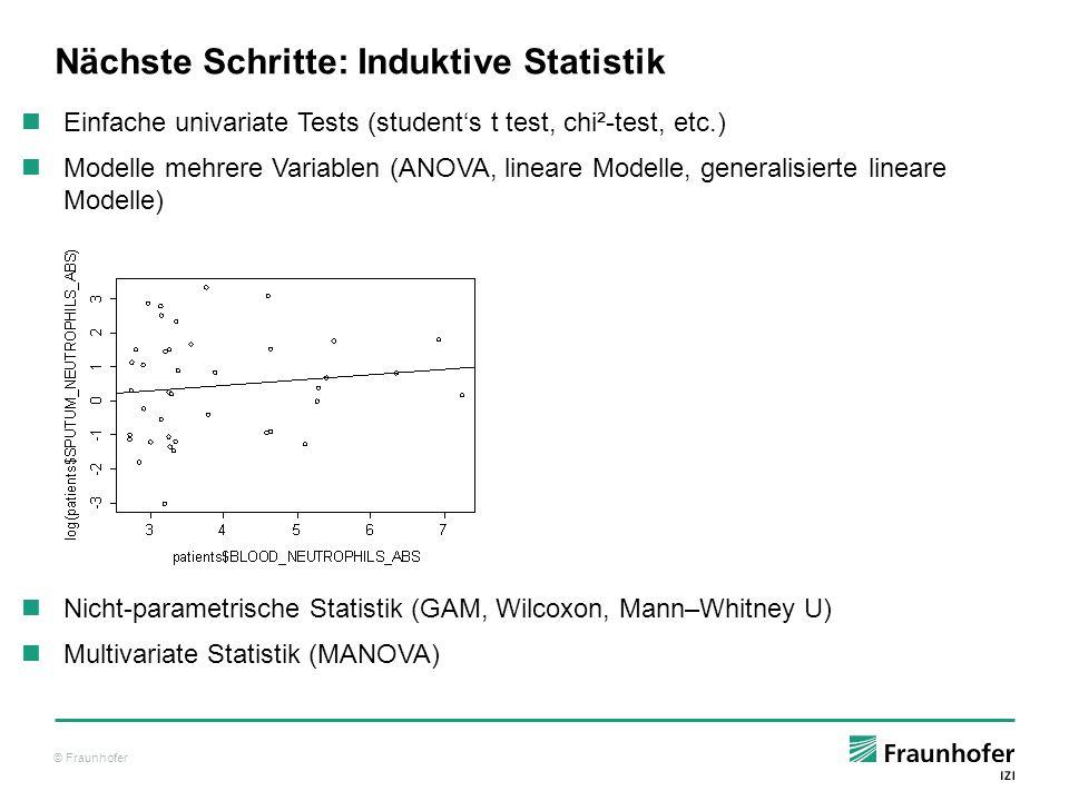 © Fraunhofer Nächste Schritte: Induktive Statistik Einfache univariate Tests (student's t test, chi²-test, etc.) Modelle mehrere Variablen (ANOVA, lin