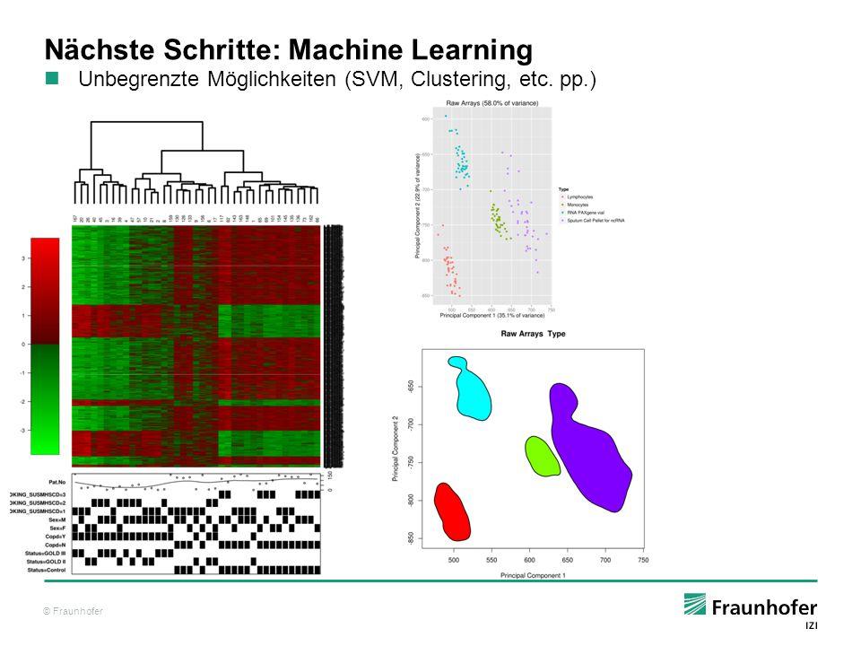 """© Fraunhofer Nächste Schritte: Funktionalität erweitern Zusatzfunktionalität in Form von """"Packages die in einer Bibliothek hinterlegt werden Sammlung von zusammengehörigen Funktionen, Klassen, Daten 2 (+1)Hauptquellen: CRAN, in R eingebaut: http://cran.r-project.org/http://cran.r-project.org/ Bioconductor: http://www.bioconductor.org/http://www.bioconductor.org/ Alpha / In-Development: https://r-forge.r-project.org/https://r-forge.r-project.org/"""