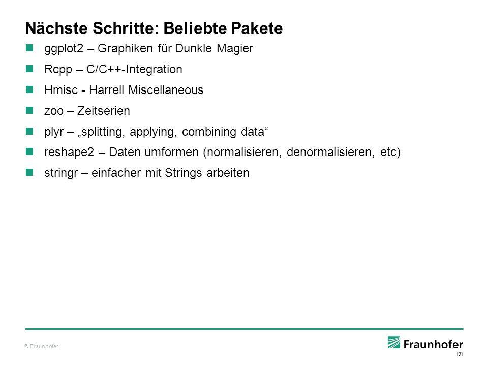 © Fraunhofer Nächste Schritte: Beliebte Pakete ggplot2 – Graphiken für Dunkle Magier Rcpp – C/C++-Integration Hmisc - Harrell Miscellaneous zoo – Zeit