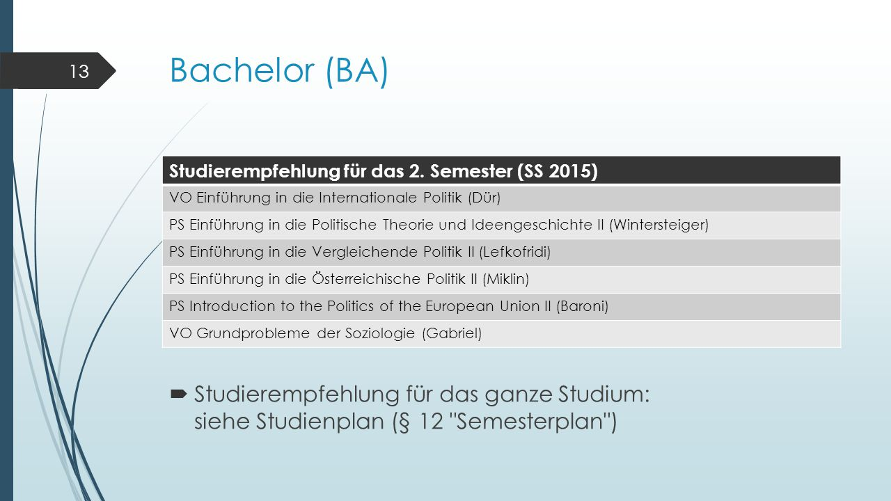 Bachelor (BA) Studierempfehlung für das 2. Semester (SS 2015) VO Einführung in die Internationale Politik (Dür) PS Einführung in die Politische Theori