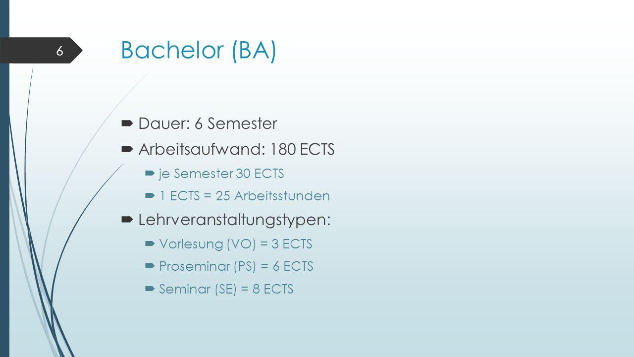 Bachelor (BA)  Dauer: 6 Semester  Arbeitsaufwand: 180 ECTS  je Semester 30 ECTS  1 ECTS = 25 Arbeitsstunden  Lehrveranstaltungstypen:  Vorlesung (VO) = 3 ECTS  Proseminar (PS) = 6 ECTS  Seminar (SE) = 8 ECTS 6