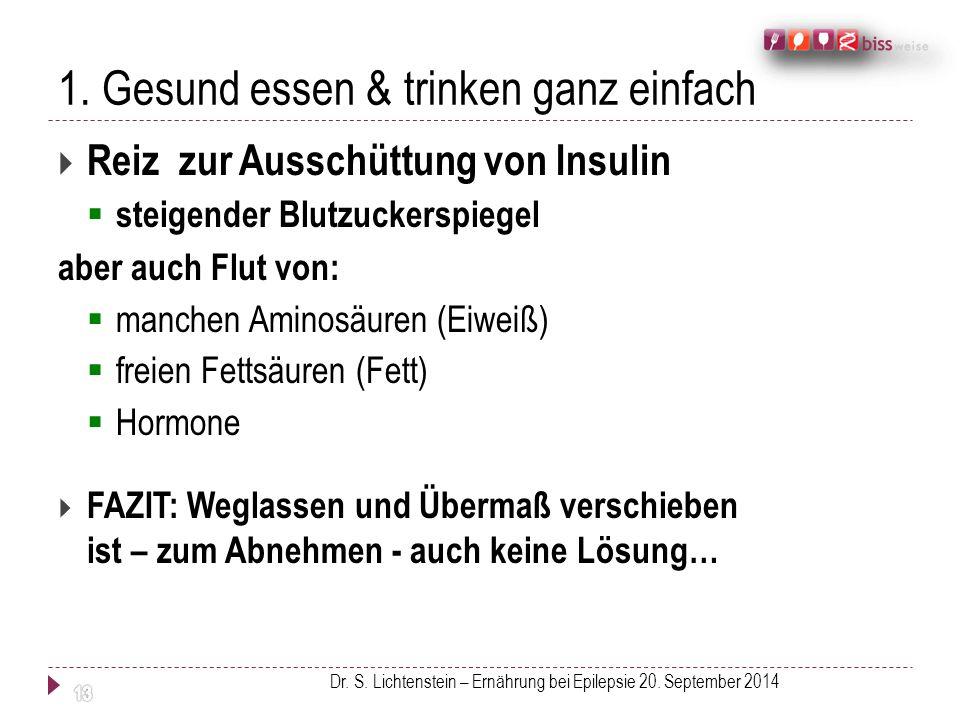 1. Gesund essen & trinken ganz einfach  Reiz zur Ausschüttung von Insulin  steigender Blutzuckerspiegel aber auch Flut von:  manchen Aminosäuren (E
