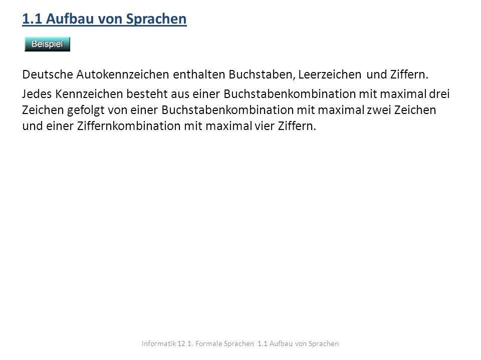 Informatik 12 1. Formale Sprachen 1.1 Aufbau von Sprachen 1.1 Aufbau von Sprachen Deutsche Autokennzeichen enthalten Buchstaben, Leerzeichen und Ziffe