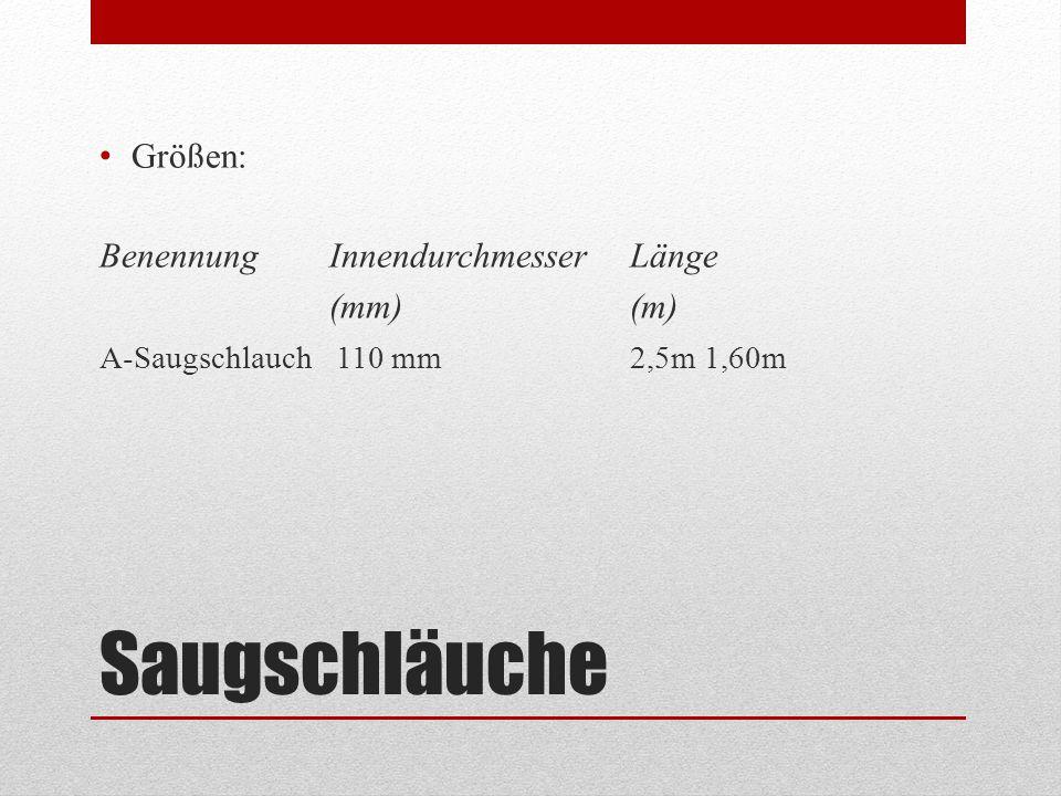 Saugschläuche Größen: Benennung Innendurchmesser Länge (mm) (m) A-Saugschlauch 110 mm2,5m 1,60m