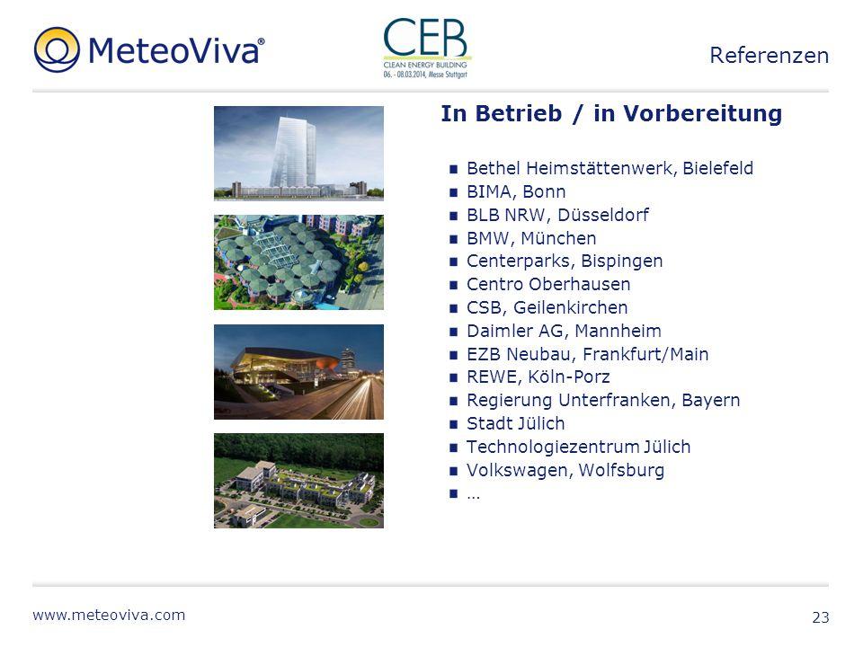 www.meteoviva.com 23 In Betrieb / in Vorbereitung Bethel Heimstättenwerk, Bielefeld BIMA, Bonn BLB NRW, Düsseldorf BMW, München Centerparks, Bispingen