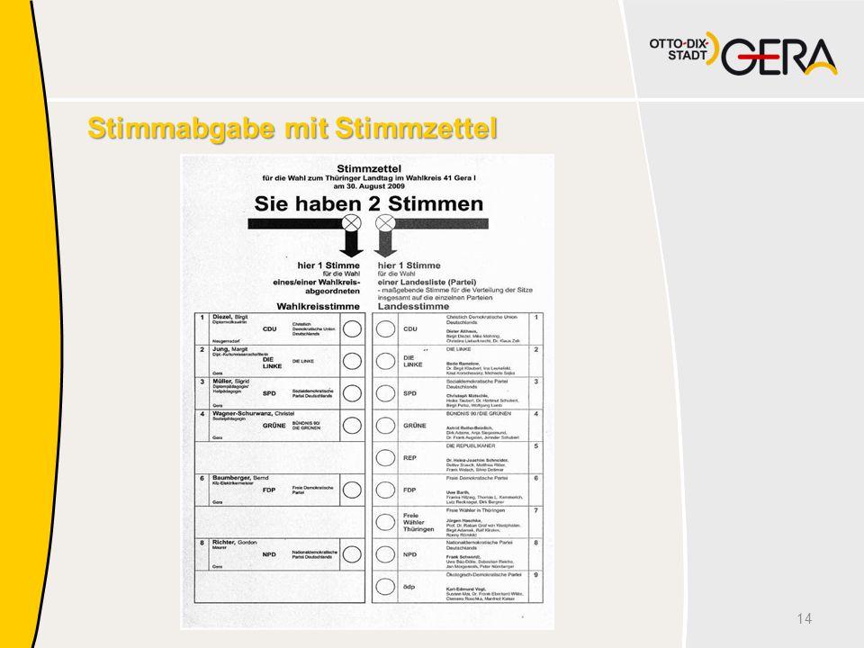Stimmabgabe mit Stimmzettel 14