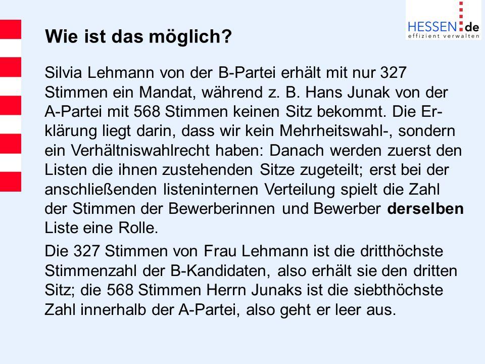 Wie ist das möglich? Silvia Lehmann von der B-Partei erhält mit nur 327 Stimmen ein Mandat, während z. B. Hans Junak von der A-Partei mit 568 Stimmen