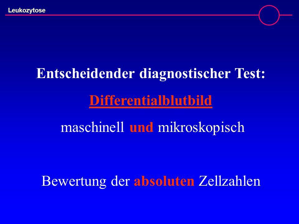 Leukozytose Entscheidender diagnostischer Test: Differentialblutbild maschinell und mikroskopisch Bewertung der absoluten Zellzahlen
