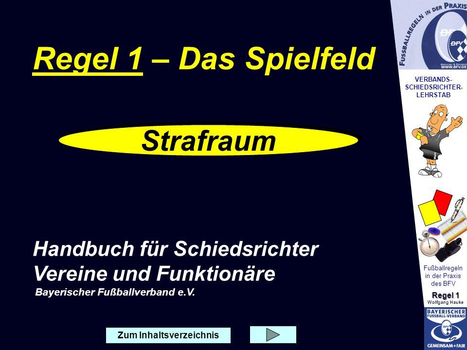 VERBANDS- SCHIEDSRICHTER- LEHRSTAB Fußballregeln in der Praxis des BFV Regel 1 Wolfgang Hauke Zum Inhaltsverzeichnis Strafraum Regel 1 – Das Spielfeld