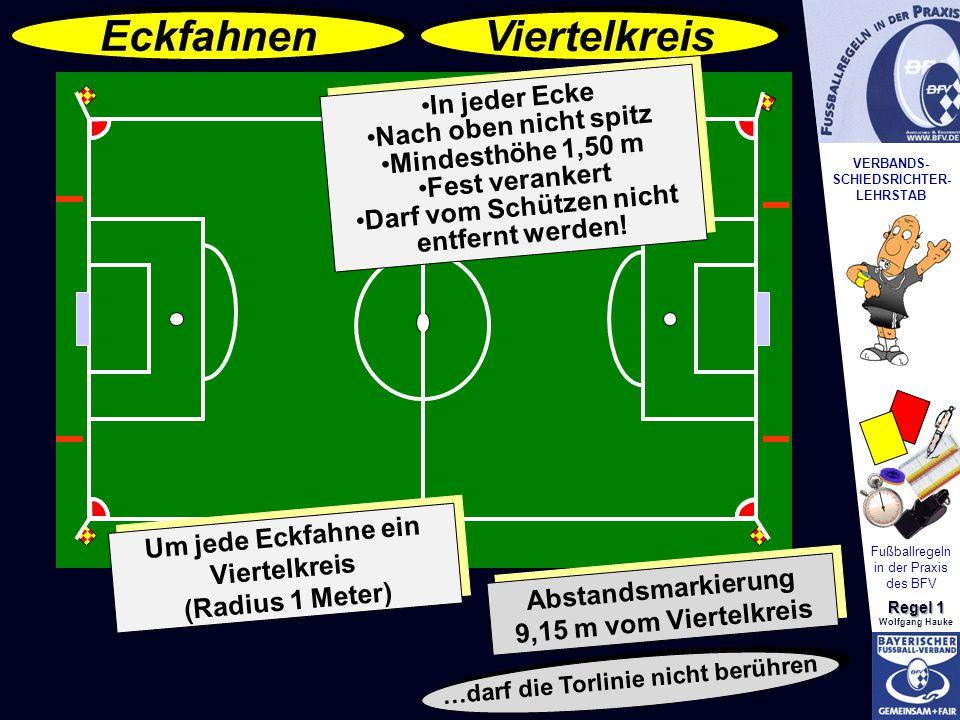 VERBANDS- SCHIEDSRICHTER- LEHRSTAB Fußballregeln in der Praxis des BFV Regel 1 Wolfgang Hauke In jeder Ecke Nach oben nicht spitz Mindesthöhe 1,50 m F