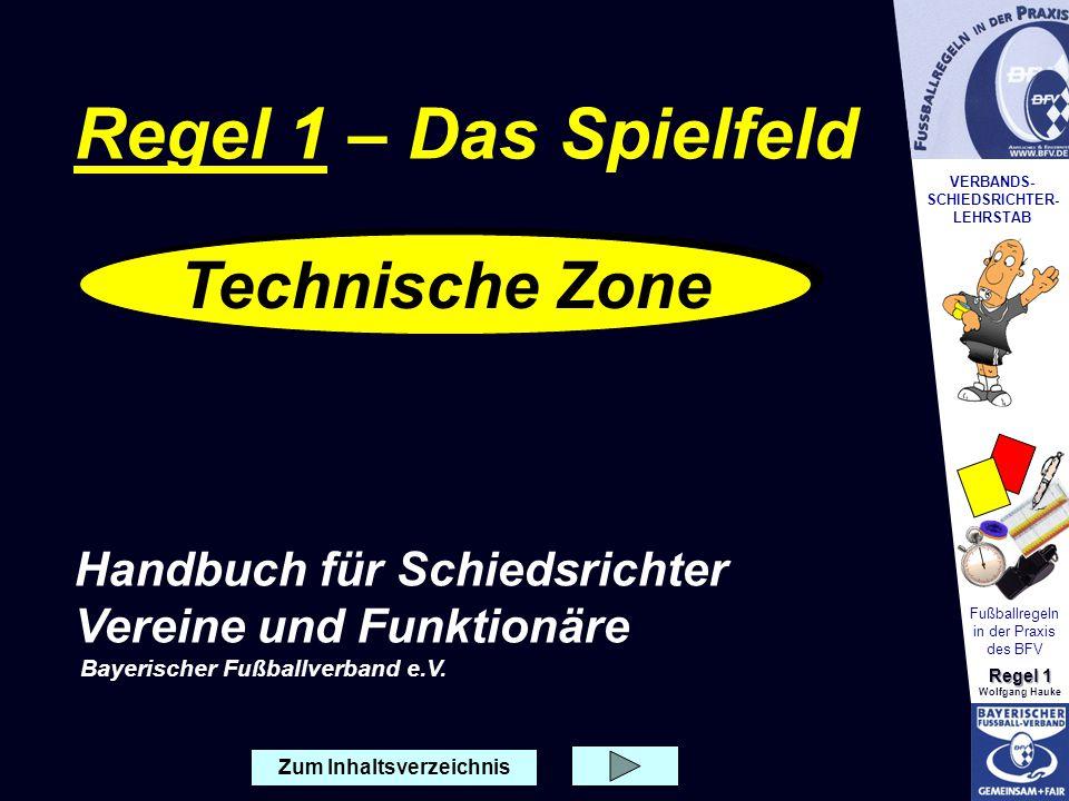 VERBANDS- SCHIEDSRICHTER- LEHRSTAB Fußballregeln in der Praxis des BFV Regel 1 Wolfgang Hauke Zum Inhaltsverzeichnis Technische Zone Regel 1 – Das Spi