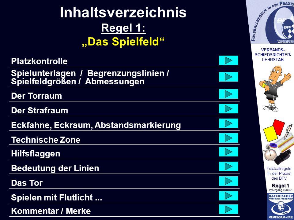 VERBANDS- SCHIEDSRICHTER- LEHRSTAB Fußballregeln in der Praxis des BFV Regel 1 Wolfgang Hauke In jeder Ecke Nach oben nicht spitz Mindesthöhe 1,50 m Fest verankert Darf vom Schützen nicht entfernt werden.