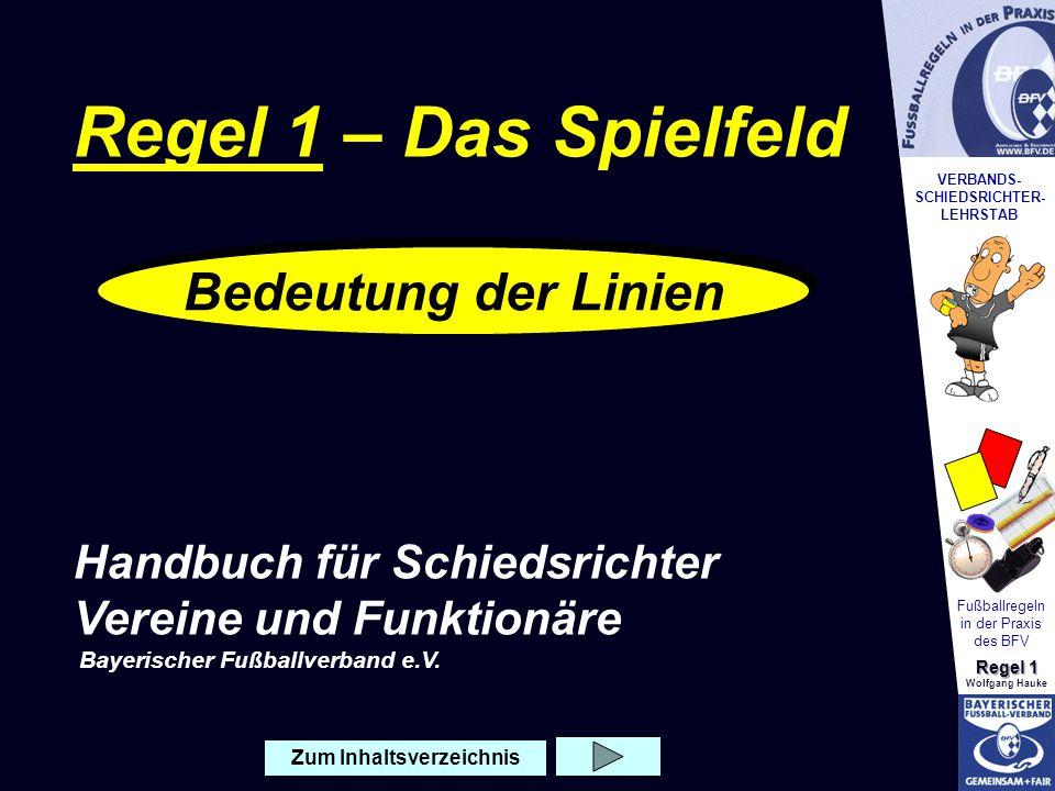 VERBANDS- SCHIEDSRICHTER- LEHRSTAB Fußballregeln in der Praxis des BFV Regel 1 Wolfgang Hauke Zum Inhaltsverzeichnis Bedeutung der Linien Regel 1 – Da