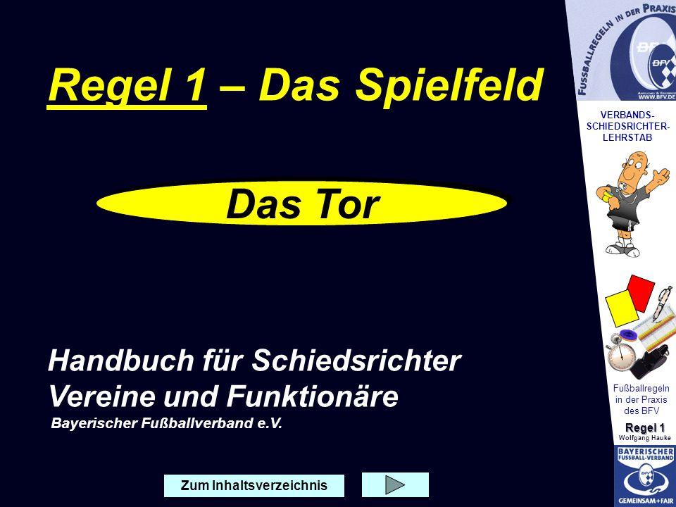 VERBANDS- SCHIEDSRICHTER- LEHRSTAB Fußballregeln in der Praxis des BFV Regel 1 Wolfgang Hauke Zum Inhaltsverzeichnis Das Tor Regel 1 – Das Spielfeld H