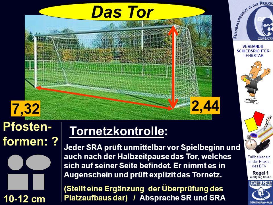 VERBANDS- SCHIEDSRICHTER- LEHRSTAB Fußballregeln in der Praxis des BFV Regel 1 Wolfgang Hauke Pfosten- formen: ? 10-12 cm Das Tor ? ? 2,44 7,32 Tornet