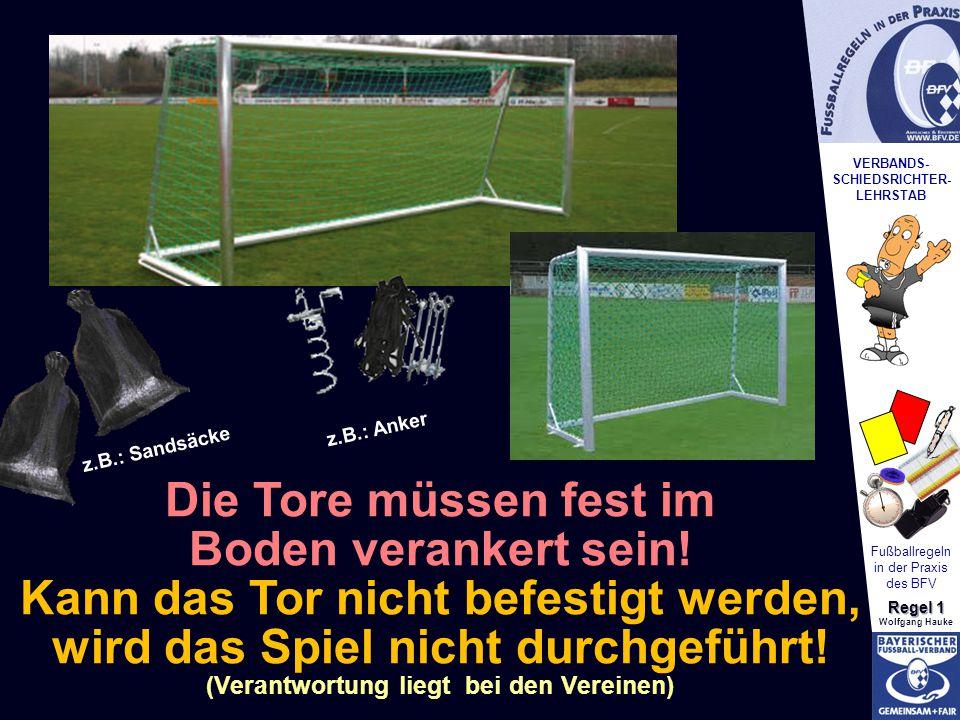 VERBANDS- SCHIEDSRICHTER- LEHRSTAB Fußballregeln in der Praxis des BFV Regel 1 Wolfgang Hauke Die Tore müssen fest im Boden verankert sein! Kann das T