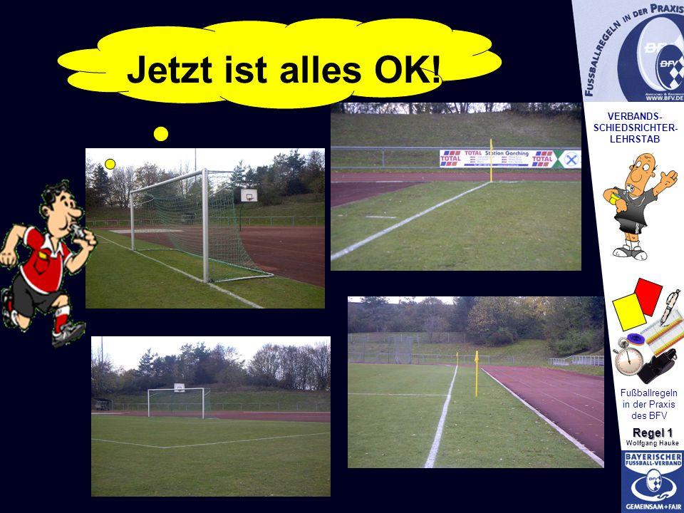 VERBANDS- SCHIEDSRICHTER- LEHRSTAB Fußballregeln in der Praxis des BFV Regel 1 Wolfgang Hauke Platzkontrolle Jetzt ist alles OK!
