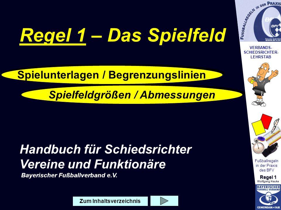 VERBANDS- SCHIEDSRICHTER- LEHRSTAB Fußballregeln in der Praxis des BFV Regel 1 Wolfgang Hauke Spiele können auf einer natürlichen oder künstlichen Unterlage ausgetragen werden.