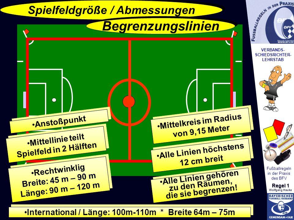 VERBANDS- SCHIEDSRICHTER- LEHRSTAB Fußballregeln in der Praxis des BFV Regel 1 Wolfgang Hauke Spielfeldgröße / Abmessungen Begrenzungslinien Rechtwink