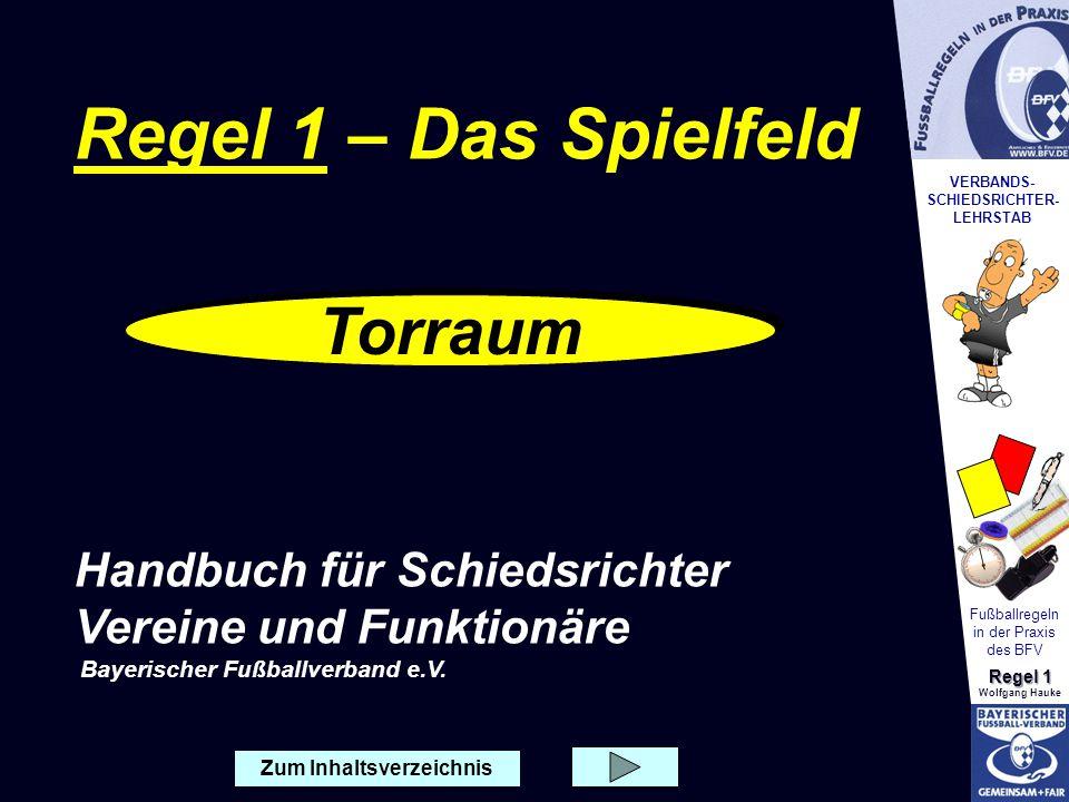 VERBANDS- SCHIEDSRICHTER- LEHRSTAB Fußballregeln in der Praxis des BFV Regel 1 Wolfgang Hauke 5,50 * Rechtwinklig von der Innenkante des Torpfostens * Rechtwinklig von der Torlinie ins Spielfeld (jeweils 5,50 Meter) * Rechtwinklig von der Innenkante des Torpfostens * Rechtwinklig von der Torlinie ins Spielfeld (jeweils 5,50 Meter) Torraum