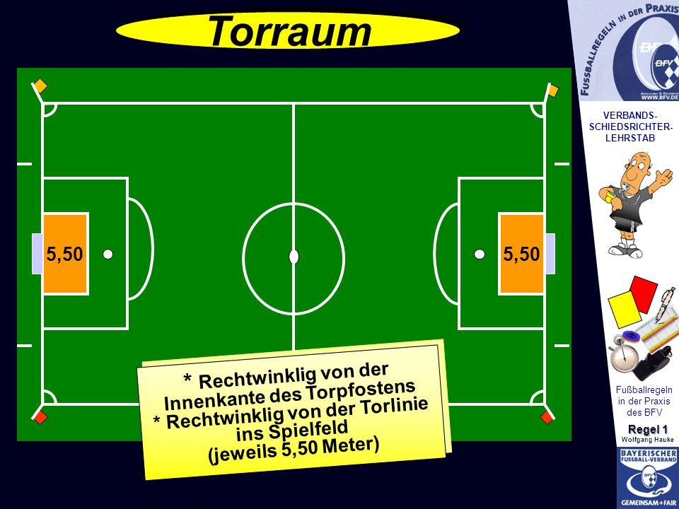 VERBANDS- SCHIEDSRICHTER- LEHRSTAB Fußballregeln in der Praxis des BFV Regel 1 Wolfgang Hauke 5,50 * Rechtwinklig von der Innenkante des Torpfostens *