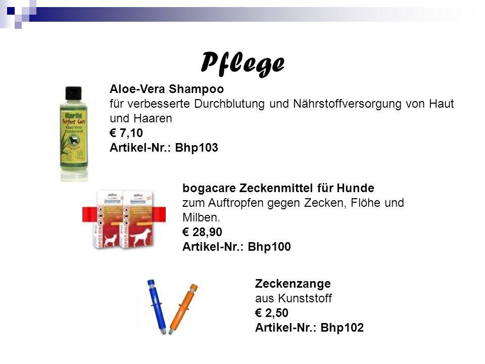 Pflege Aloe-Vera Shampoo für verbesserte Durchblutung und Nährstoffversorgung von Haut und Haaren € 7,10 Artikel-Nr.: Bhp103 bogacare Zeckenmittel für Hunde zum Auftropfen gegen Zecken, Flöhe und Milben.
